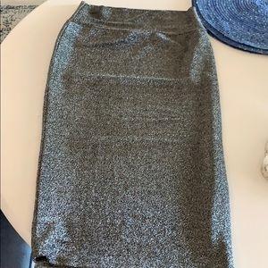Silver lurex midi bodycon skirt
